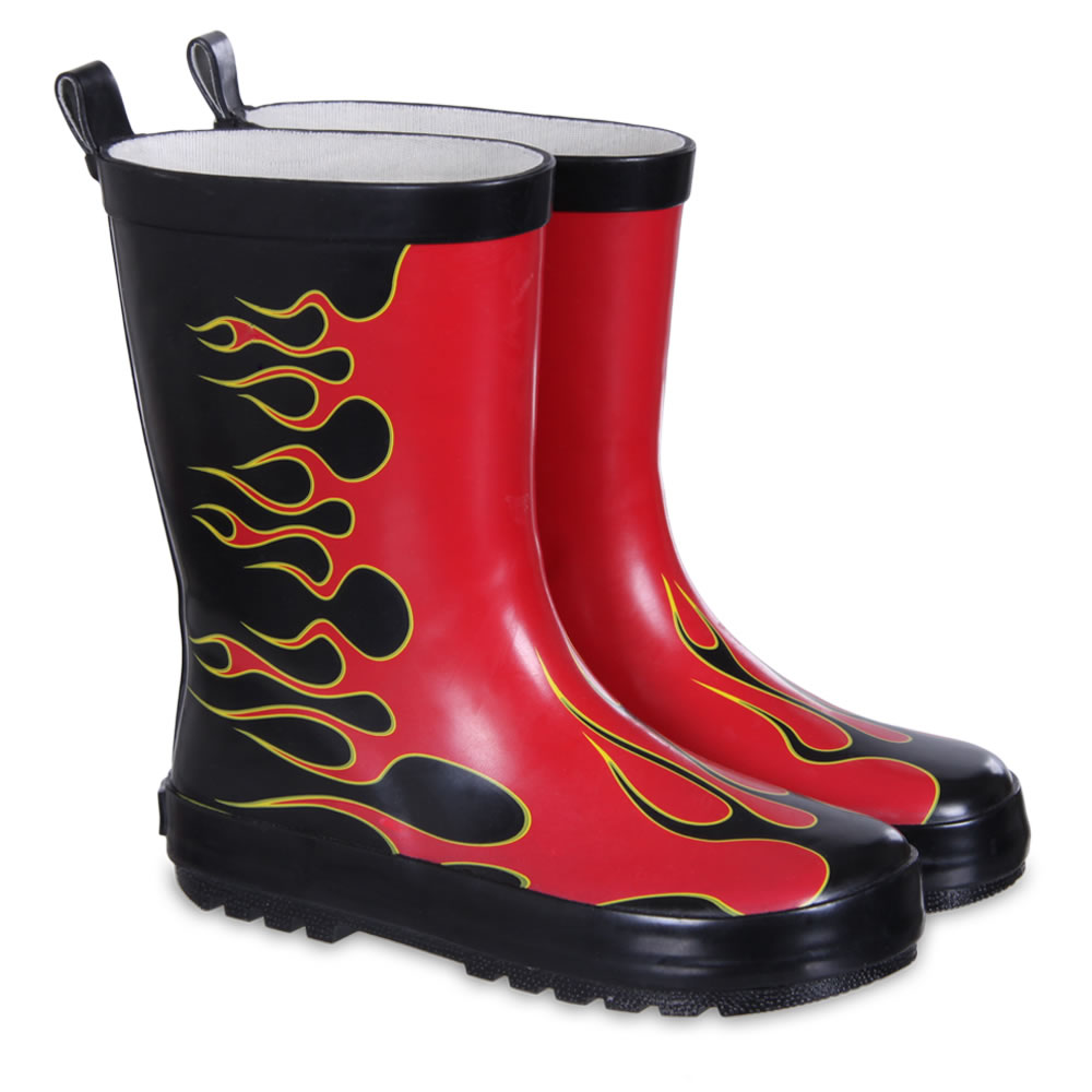 "Red Flame, Kids Rubber Rainboots with ""Red Flame"" theme - Boys ..."